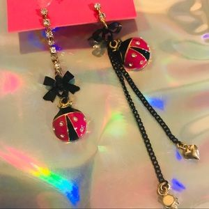 Ladybug earrings vintage Betsey Johnson long